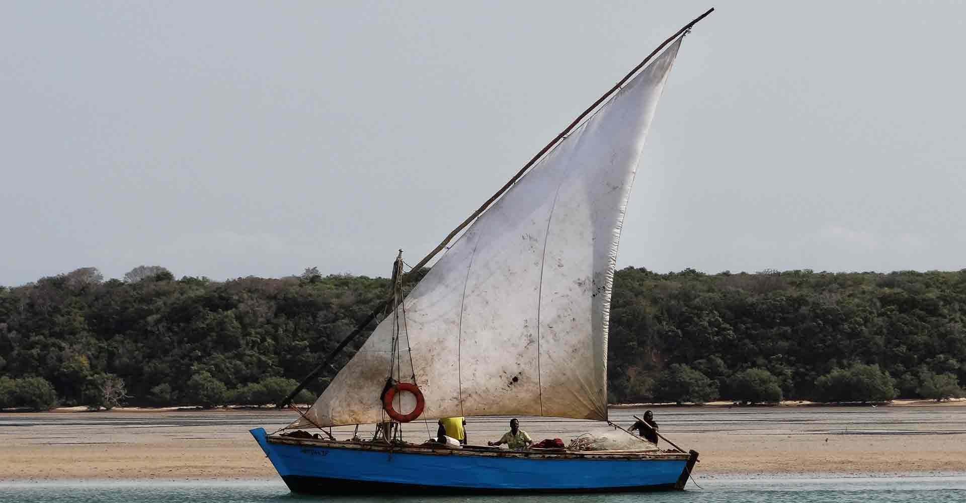 A dhow passing by during a Bech trip to Ithaca island from Maputo by Mabeco tours